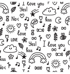 hand drawn seamless pattern on love theme doodle vector image