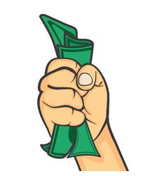 Hand make fist holding money vector