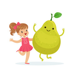 Happy girl having fun with fresh smiling pear vector
