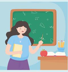 happy teachers day teacher with paper book apple vector image