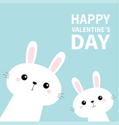 happy valentines day two rabbit bunny set in the vector image