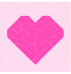 heart pink low polygon vector image