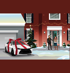 Husband giving wife christmas gift vector