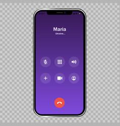 Iphone call screen template interface vector