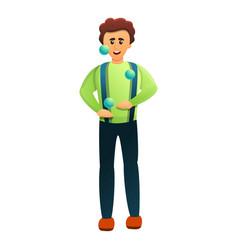 Jolly juggler icon cartoon style vector