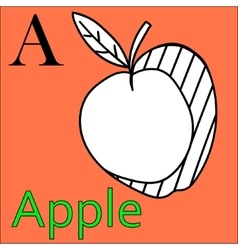 Letter A alphabet Coloring book apple vector