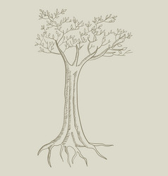 Line art of a tree vector