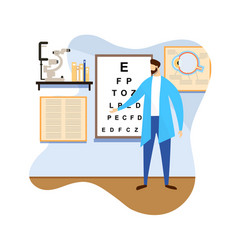 Male doctor doing vision check up healthcare vector