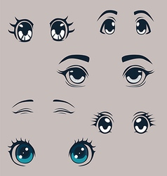 Manga eyes set vector image