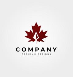 maple leaf icon logo with arrow head symbol design vector image