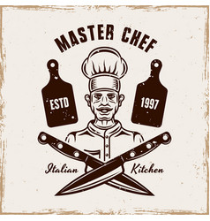 Master chef cooking emblem badge or logo vector
