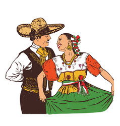 mexicans dance in national costumes vector image