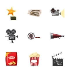 Movie theater icons set cartoon style vector