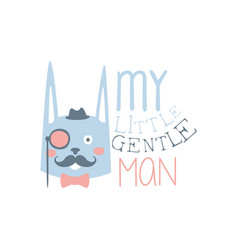 My little gentleman label colorful hand drawn vector