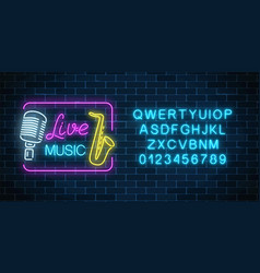 neon signboard of live music nightclub with vector image