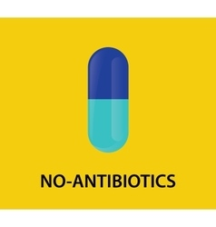 no antibiotics concept with capsule vector image