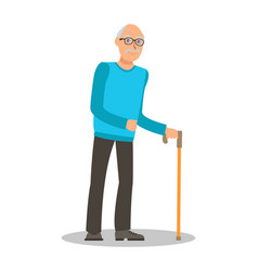 old man with walking cane flat vector image