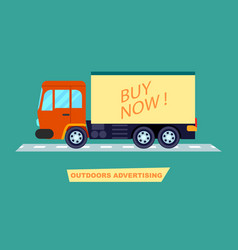 outdoor advertising on transport poster vector image