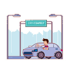 Person driving for driver safely campaign vector