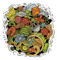 Picnic cartoon doodle funny design vector