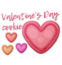 Pink red and orange valentine day cookies vector