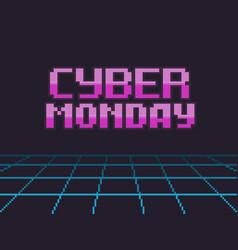 Pixel art cyber friday vector