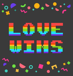 pixel love wins vector image
