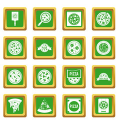 Pizza icons set green vector
