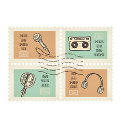 Postage stamps of retro music equipment theme vector