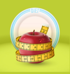 Red apple yellow measuring tape dish diet vector