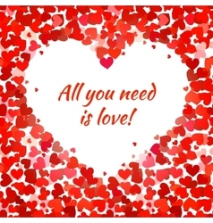 Red hearts and all you need is love phrase vector image
