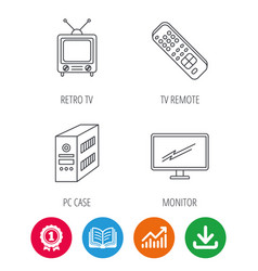 retro tv pc case and monitor icons vector image