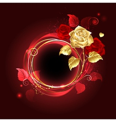 Round banner with gold rose vector image