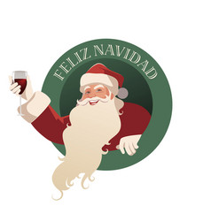 santa claus holding a glass of wine-02 vector image