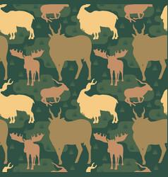 Seamless pattern repeatable horned deer buck vector