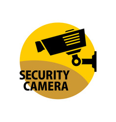 security camera sign information round sticker vector image