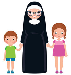 Senior nun holding hands boy and girl children vector