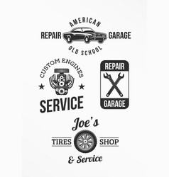 Set of car repair badges vector