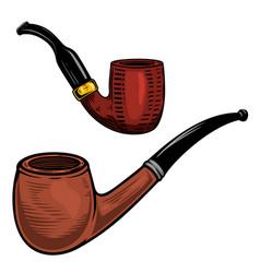 set smoking pipe in engraving style design vector image