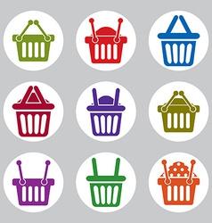 Shopping basket icons set supermarket shopping vector image