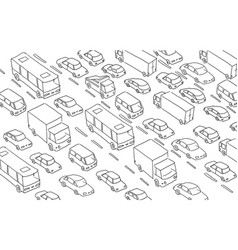 Sketch traffic jam car plug transport highway vector