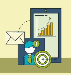 smartphone email target financial statistics vector image