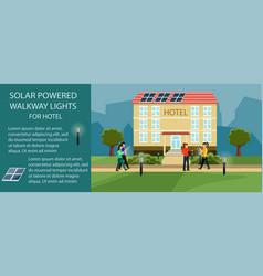 Solar powered walkway lights vector