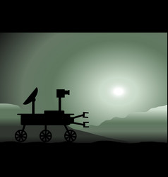 Space rover icon on martian sunset vector