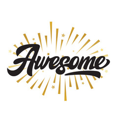 stylish lettering avesome on background rays vector image