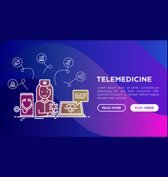 telemedicine concept with thin line icons vector image