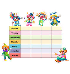 Timetable template with days of the week vector