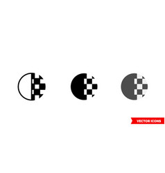 Transparency icon 3 types color black and vector