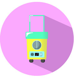 Travel fridge with shadow small wheeled fridge vector