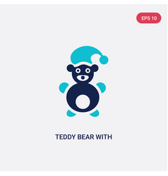 Two color teddy bear with sleep hat icon from vector